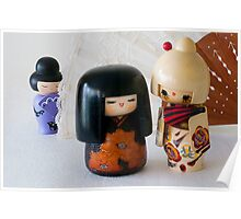 Kokeshi Dolls with Fan Poster