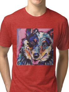 Australian Cattle Dog Bright colorful pop dog art Tri-blend T-Shirt