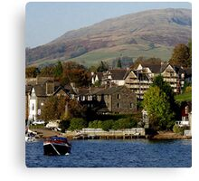 Ambleside, Cumbria from Lake Windermere Canvas Print