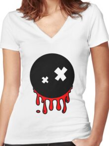 Funny cartoon bleeding head Women's Fitted V-Neck T-Shirt