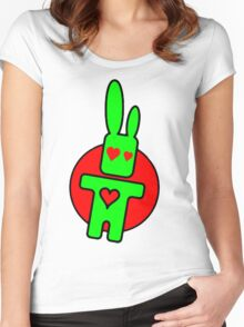 Funny cartoon bunny Women's Fitted Scoop T-Shirt