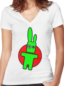 Funny cartoon bunny Women's Fitted V-Neck T-Shirt