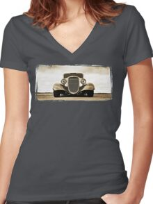 1933 Ford Coupe Lomo © Women's Fitted V-Neck T-Shirt