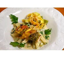 Pasta Roulette Tricolore with Salm and Kohlrabi Sticks Photographic Print