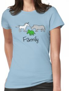 Family - Unicorn, Rhino, Triceratops Womens Fitted T-Shirt