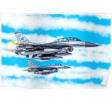 F-16 Flying Falcon Jets In Flight Poster