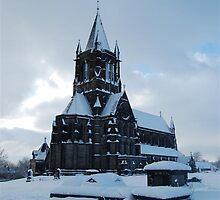 Snowy church by Andy  Hall