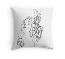 Homage to Tanguy - pigment ink on paper Throw Pillow