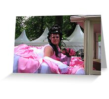 Drag Queen makes a ride on Pink Saturday Greeting Card