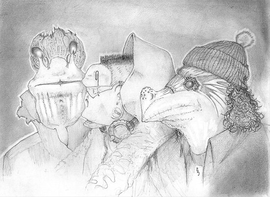Three Gentlemen, pencil sketch by Pete Janes