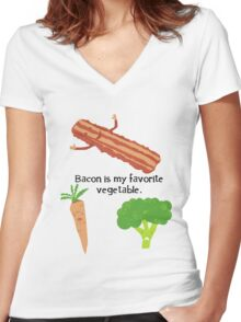Bacon is My Favorite Vegetable Women's Fitted V-Neck T-Shirt