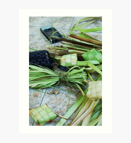 Balinese still life with cell phone Art Print