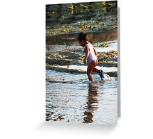 Blissful boy on a Bali beach Greeting Card