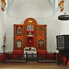 Inside Mission Espiritu Santo in Goliad by Susan Russell