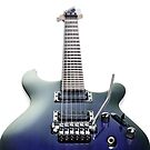 Blue Ibanez electric guitar isolated on white art photo print by ArtNudePhotos