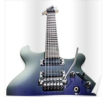 Blue Ibanez electric guitar isolated on white art photo print Poster