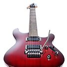 Red Ibanez electric guitar isolated on white art photo print by ArtNudePhotos