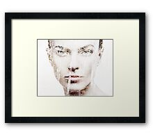 Artistic portrait of woman face overlayed on nature scenery art photo print Framed Print