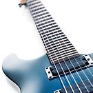Blue Ibanez electric guitar closeup isolated on white art photo print by ArtNudePhotos