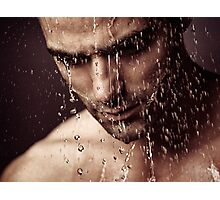 Pensive man face under showering water art photo print Photographic Print
