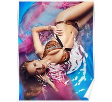 Beautiful woman in bikini swimsuit in water art photo print Poster