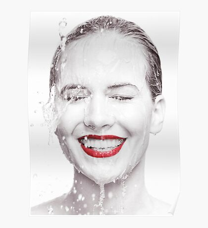 Artistic portrait of a smiling woman with water running over her face art photo print Poster