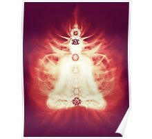 Chakras symbols and energy flow on human body art photo print Poster