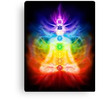 Chakras and energy flow on human body art photo print Canvas Print