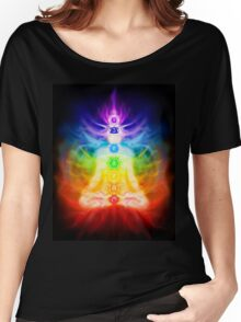 Chakras and energy flow on human body art photo print Women's Relaxed Fit T-Shirt