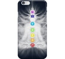 Woman meditating in lotus pose silhouette with Chakras and energy flow art photo print iPhone Case/Skin