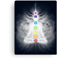Woman meditating in lotus pose silhouette with Chakras and energy flow art photo print Canvas Print
