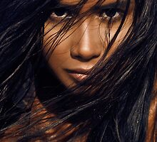 Young exotic woman with long black hair art photo print by ArtNudePhotos
