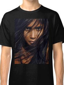 Young exotic woman with long black hair art photo print Classic T-Shirt