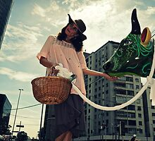 fernanda eva and her green cow by Claudio Pepper