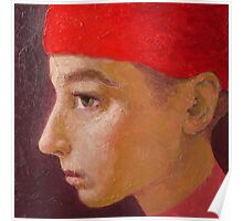 Young man with a red hat 4 Poster