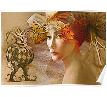 Young woman in flower hat Poster