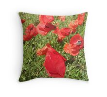 Poppies in the Wind Throw Pillow