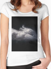 Moon and Clouds Women's Fitted Scoop T-Shirt