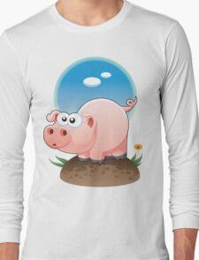 Cartoon Pig design t-shirt Long Sleeve T-Shirt