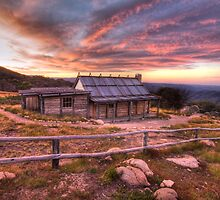 Mt Stirling - Craigs Hut Sunset II by Richard  Cubitt