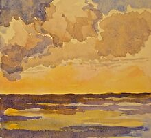 Sunset at sea. Watercolour. 2010Ⓒ by Elizabeth Moore Golding