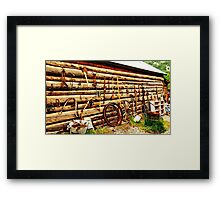 Log Cabin with Tools Framed Print