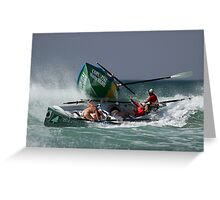 Lorne girls get run over by Rosebud - Surfboats Greeting Card