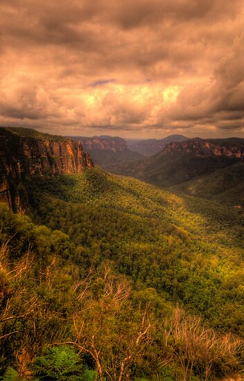 Of Rugged Mountain Ranges  - Govetts - Blue Mountains World  Heritage Area - The HDR Experience by Philip Johnson