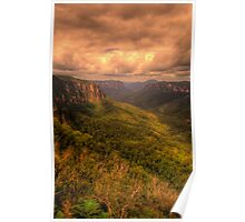 Of Rugged Mountain Ranges  - Govetts - Blue Mountains World  Heritage Area - The HDR Experience Poster