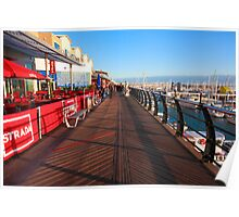 Walking along marina Poster