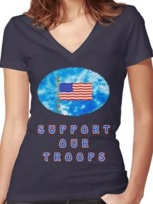 """""""Support Our Troops"""" Patriotic T-Shirt Women's Fitted V-Neck T-Shirt"""
