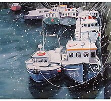 Snow At Pittenweem Harbour by Andrew Lyon