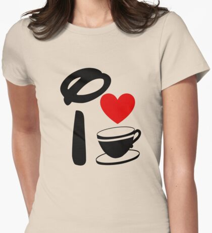 I Heart Tea Cups Womens Fitted T-Shirt