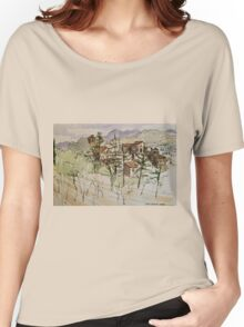Anghiari. Tuscany Italy. Pen and wash. 2010Ⓒ Women's Relaxed Fit T-Shirt